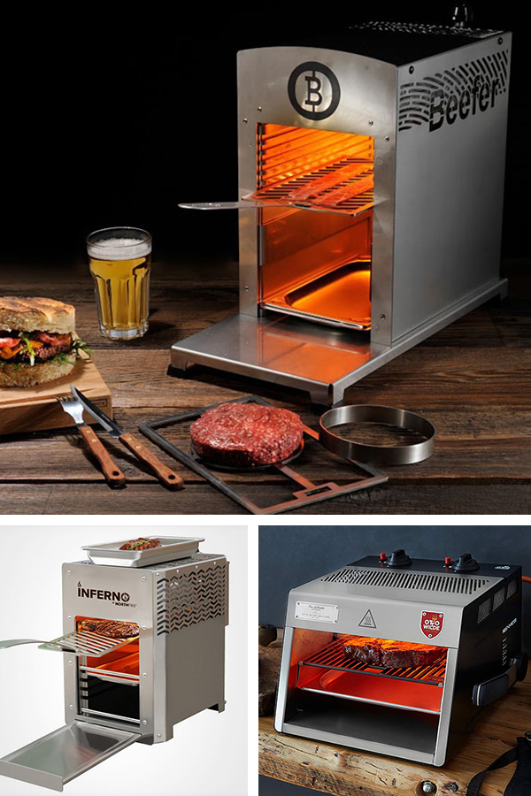 Infrared Grills, including the Inferno, the Beefer, and the Otto Wilde