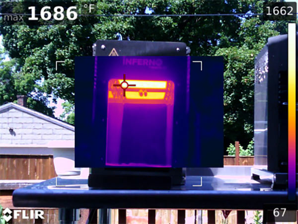 Infared temperature test of the Inferno Grill