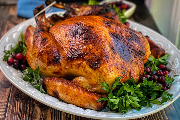 Grilled Whole Turkey ready for serving