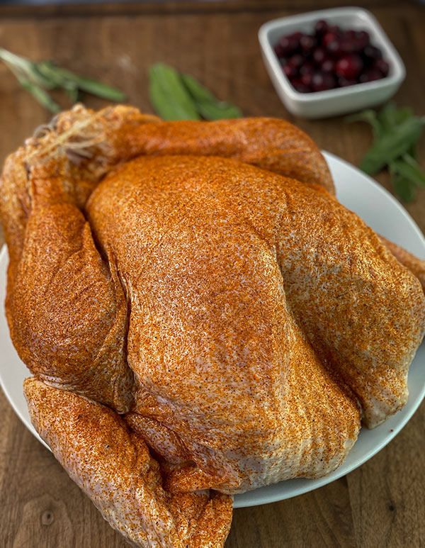Omaha Steak Turkey seasoned and ready for the grill
