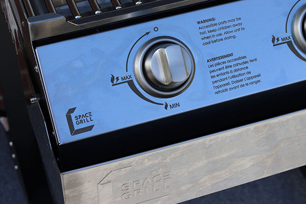 Laser etched control Panel on Space Grill