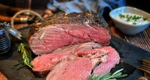 smoked and seared prime rib sliced and ready to serve