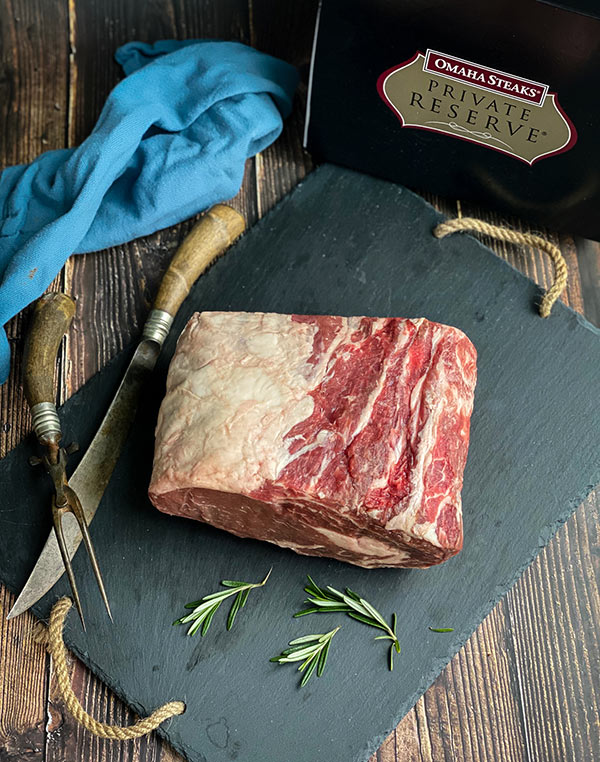 Raw prime rib from Omaha steaks
