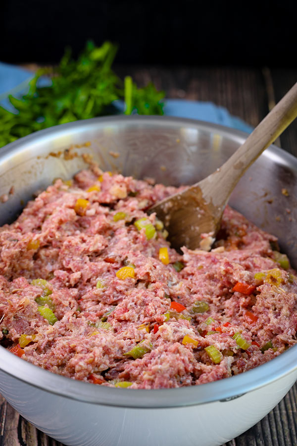 Meatloaf mixture ready to be formed into a loaf