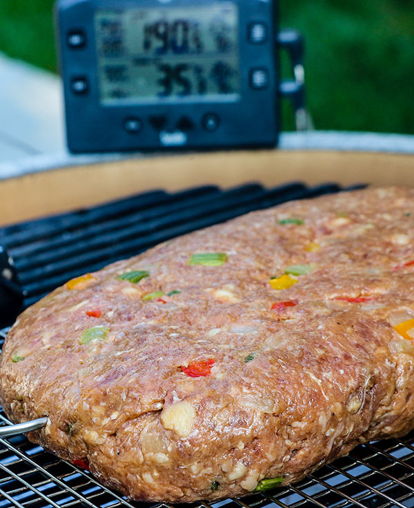 Smoked meatloaf cooking on the grill