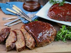 Sliced smoked meatloaf ready to serve at dinner