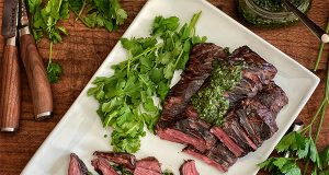 Perfectly tender skirt steak chopped with fresh herbs