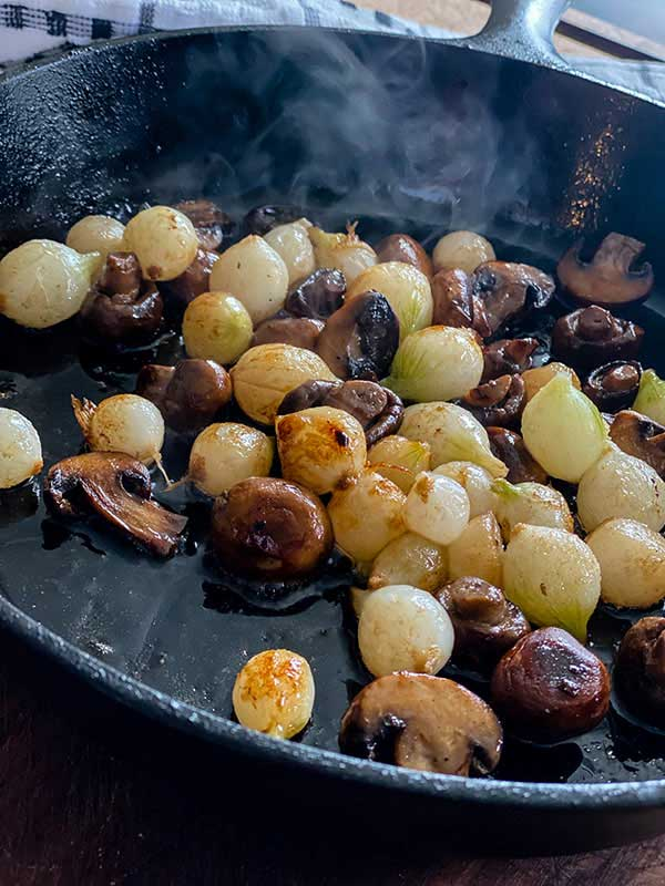 mushrooms, onions and shallots for Grilled Steak Beef Stroganoff
