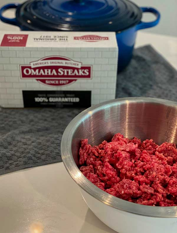 Raw ground beef from Omaha Steaks for Grilled Cheese Stuffed Salisbury Steak