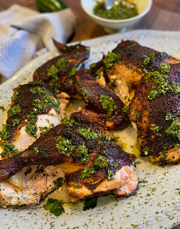 Spatchcock Rosemary chicken with chimichurri sauce