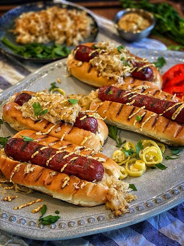 Store Bought Sauerkraut on Omaha Steaks filet mignon hot links