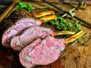 Grilled Herb Crusted Rack of Veal sliced and ready to serve