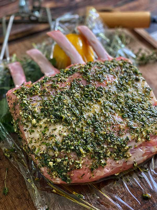Herb mixture on veal for Grilled Herb Crusted Rack of Veal