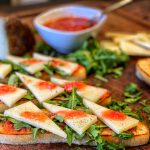 Grilled Ciabatta Bread with Tomato Dip and Manchego Cheese