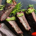 Beef ribs with Avocado Cilantro and Lime Vinaigrette ready to serve