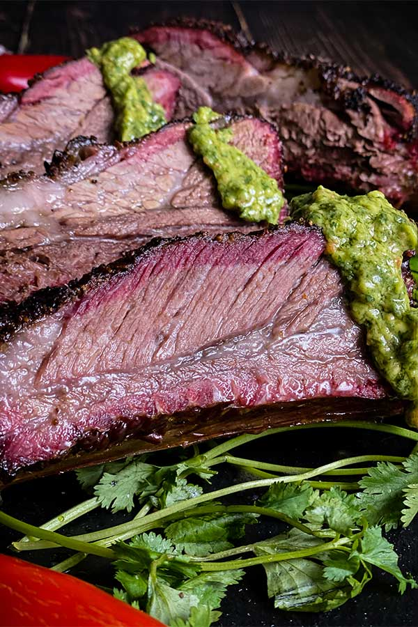 Beef ribs with Avocado Cilantro and Lime Vinaigrette