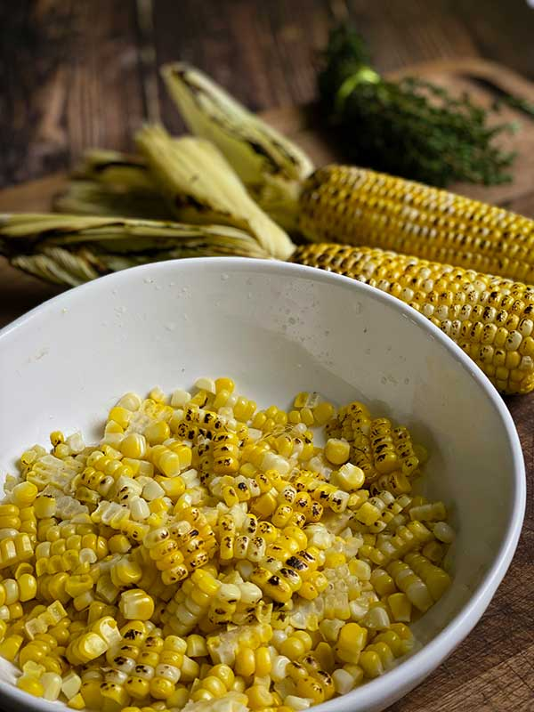 Shucked corn for spicy low country boil
