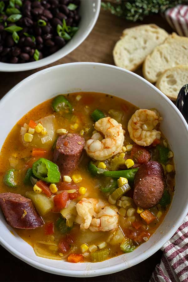 Spicy low country boil in a bowl ready to eat