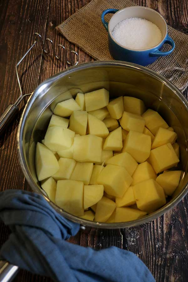 potatoes in large pot ready for boiling