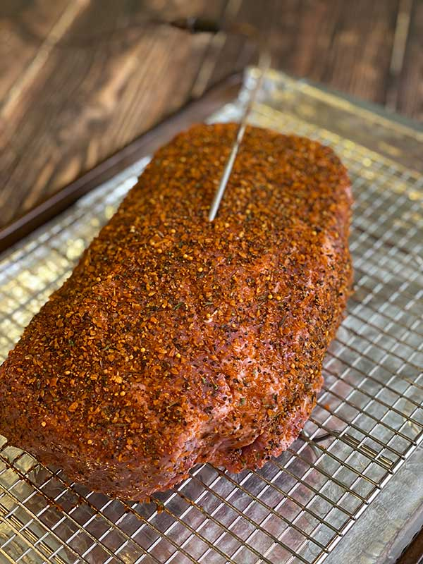 Smoked Beef Chuck Roast with leave-in thermometer