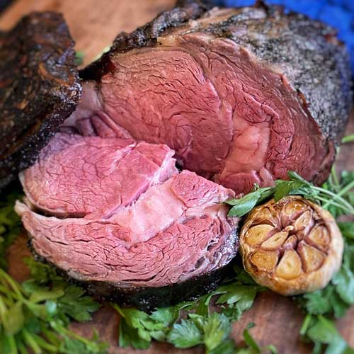 Bone-In Prime Rib from Omaha Steaks sliced and ready to serve