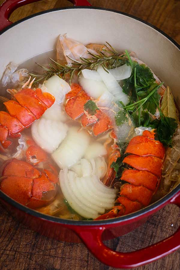 pot filled with stock ingredients