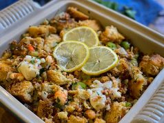Lobster and Chorizo Stuffing ready to serve