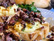 Open-faced hot beef sandwich ready for serving