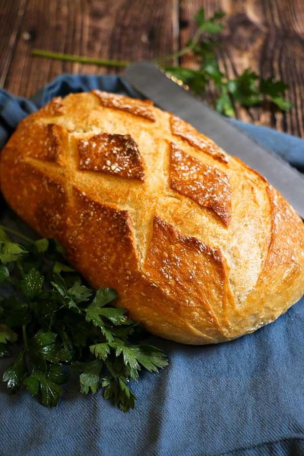Fresh bread for open-faced hot beef sandwich