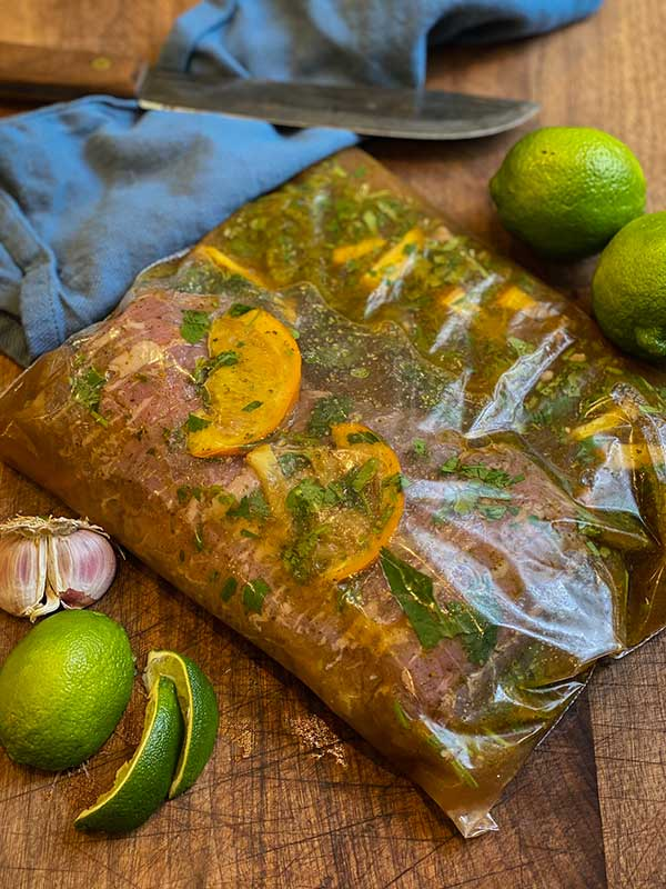 San Diego Style Street Tacos Marinating with Cilantro and Citrus