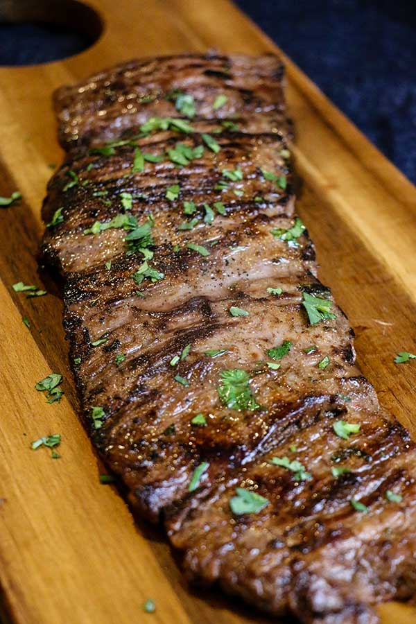 Skirt steak, grilled and resting before adding to San Diego Style street tacos