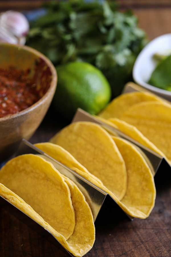 Double corn tortillas prepped and ready for San Diego Style Street Taco meat and toppings