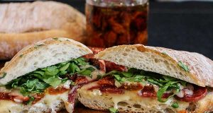Spicy salami & Roasted tomato sandwich ready for eating!