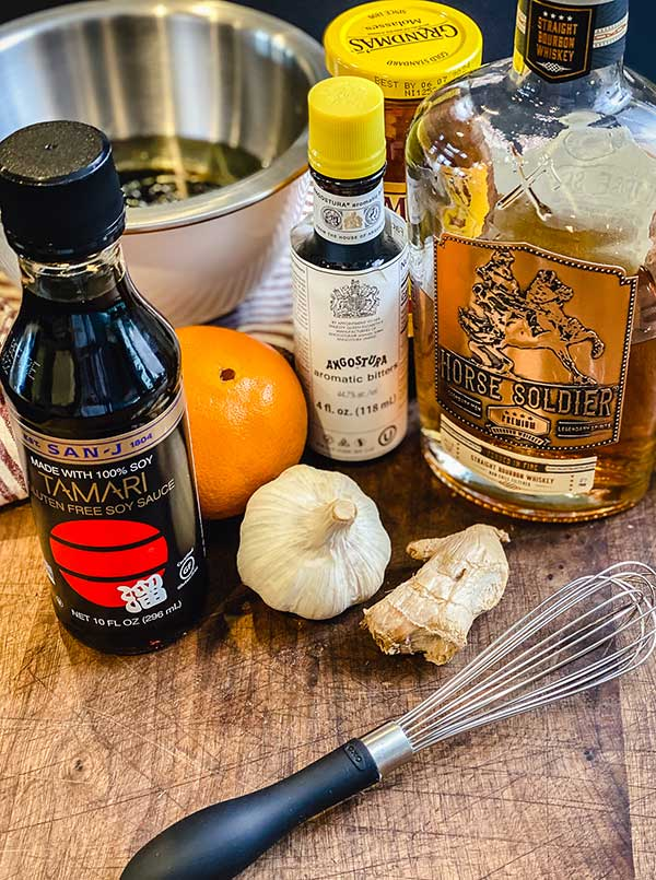 ingredients for bourbon marinade gathered