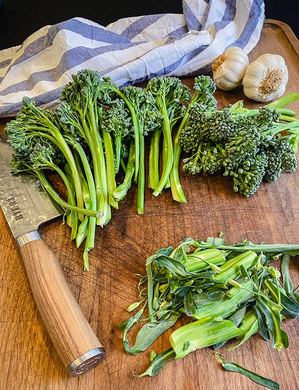 trimmed and thinned broccolini stalks