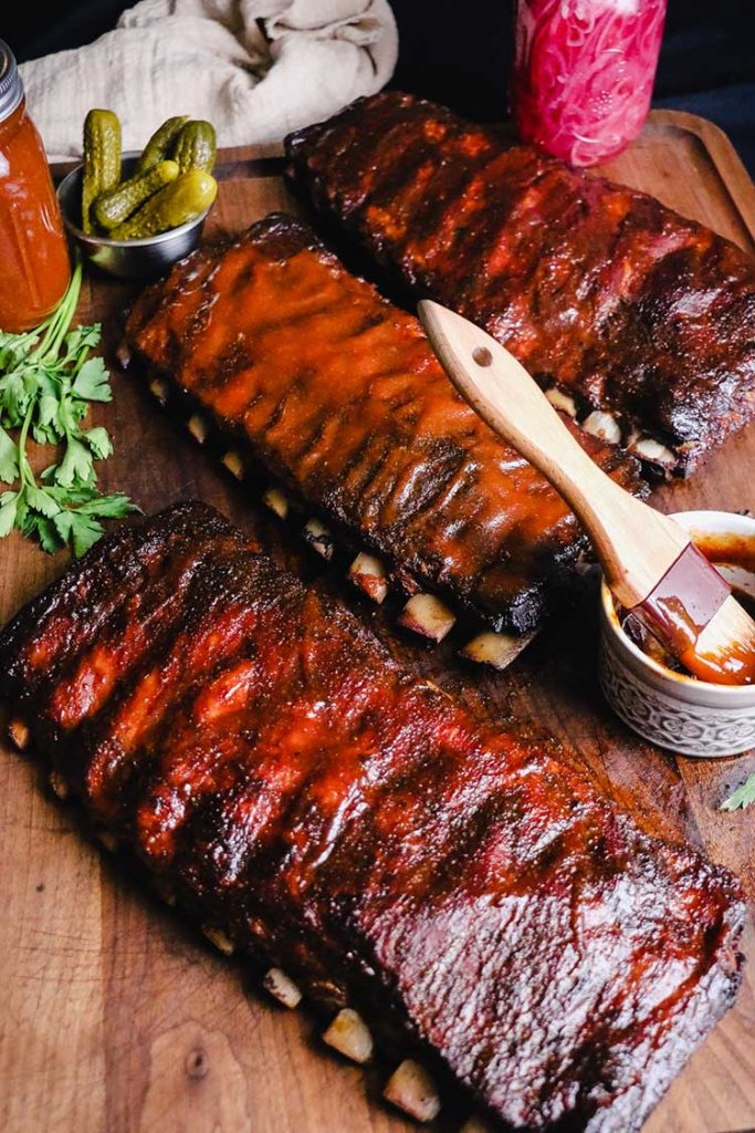 Barbecue ribs grilled with sauce on the side