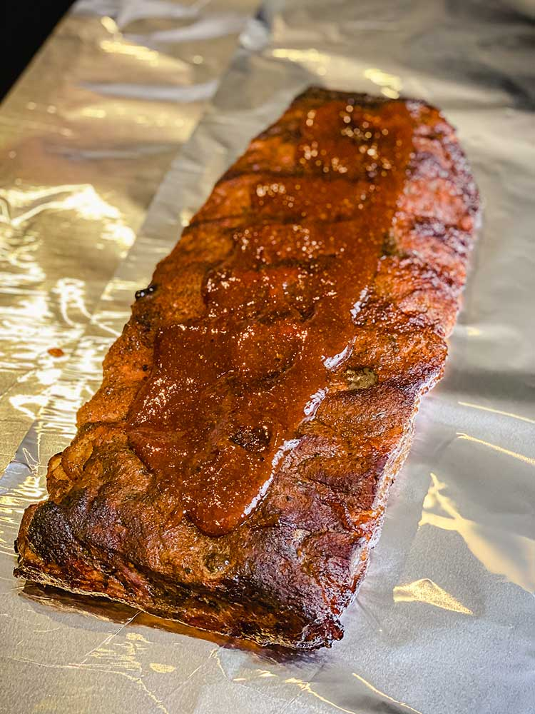 Kansas City Style barbecue ribs glazed with sauce