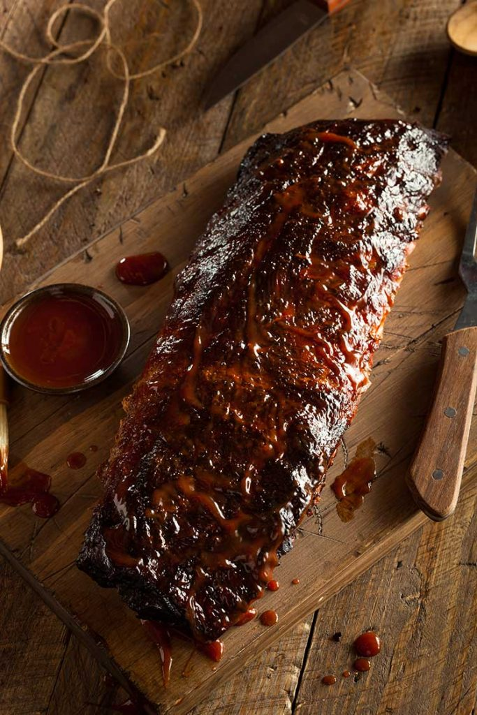 Homemade bbq sauce and grilled ribs