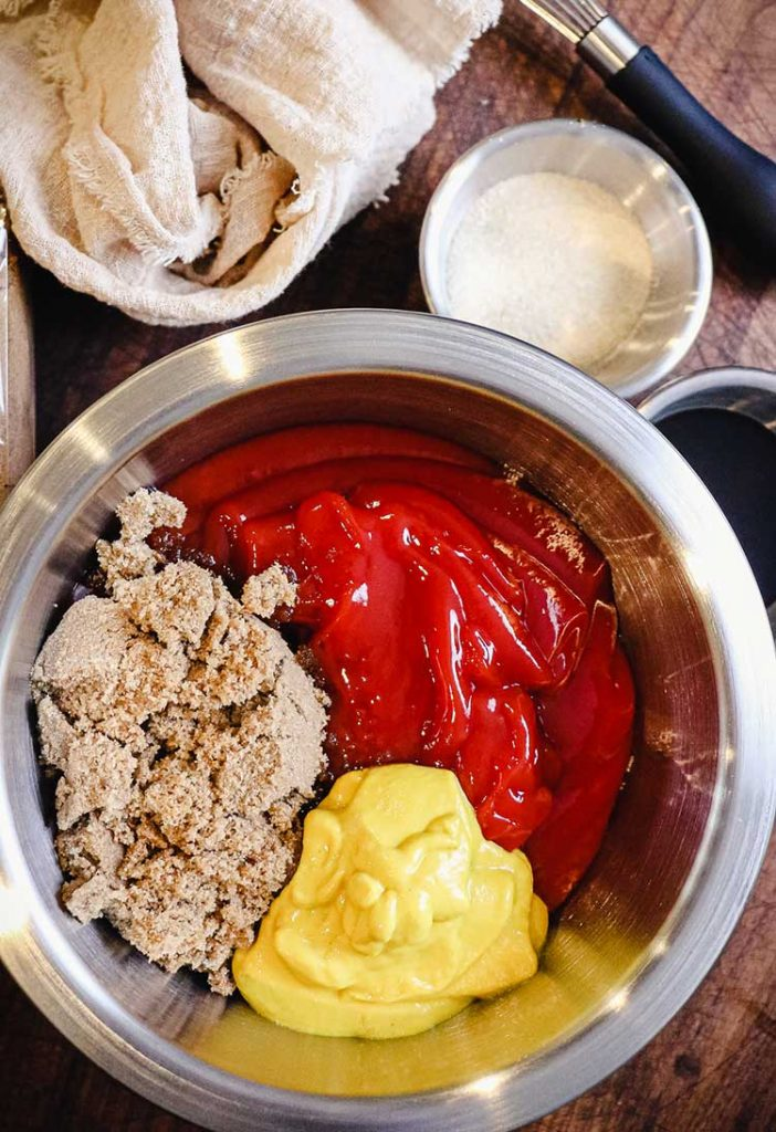 Ketchup, mustard, and brown sugar are the basic ingredients of homemade BBQ sauce