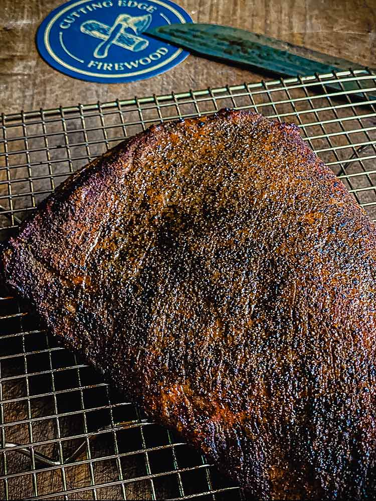 tri-tip with crisp outer bark, set aside while coals are stoked