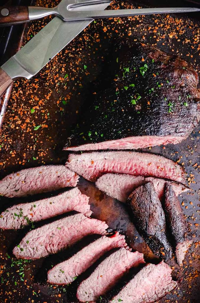 tri-tip cut against the grain for serving and enjoying