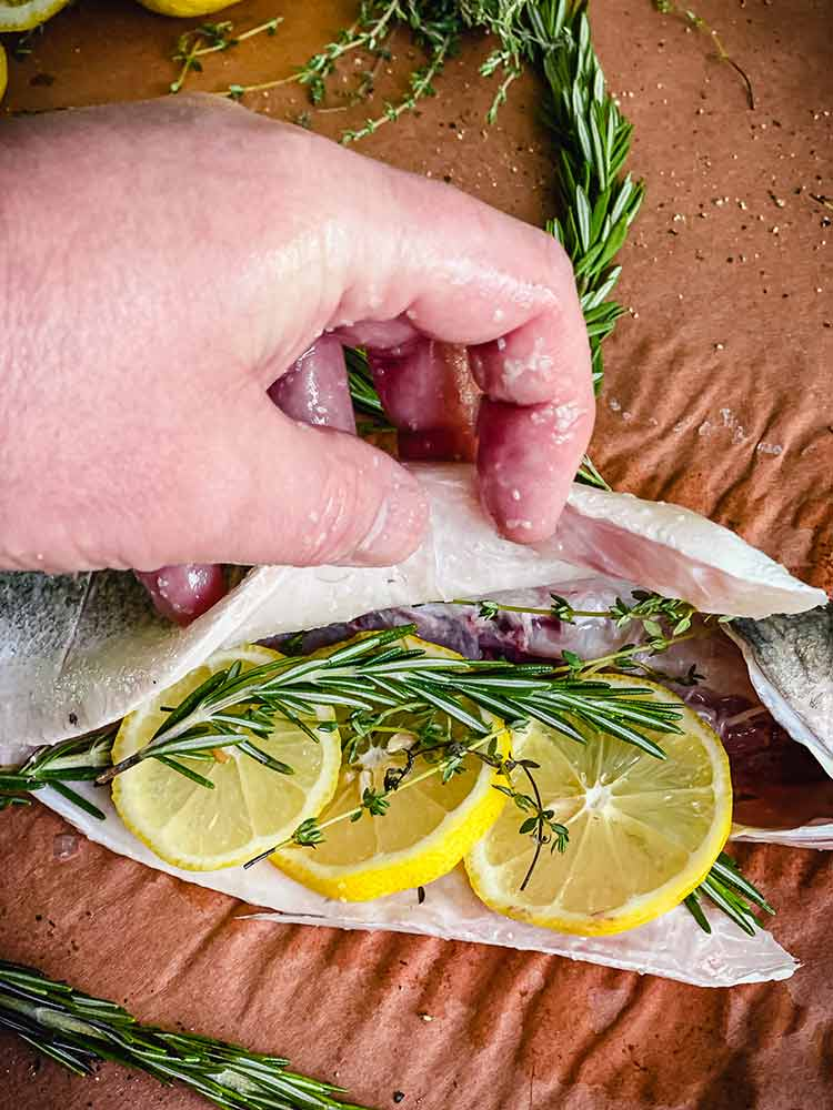 fresh whole fish stuffed with lemon and thyme