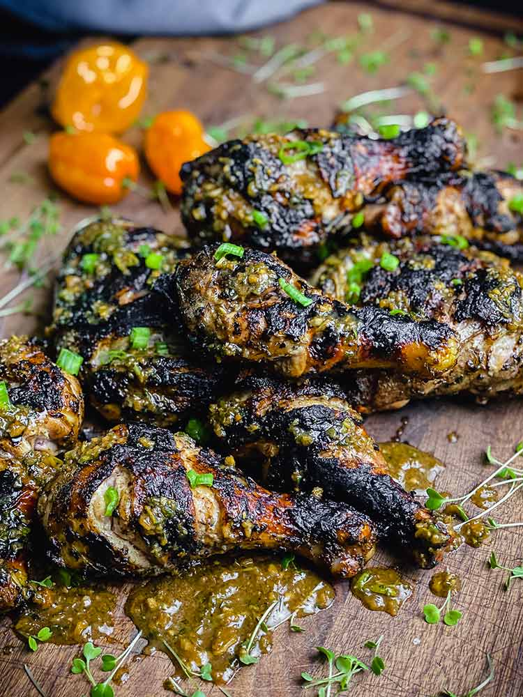 Jamaican chicken drizzled with jerk sauce