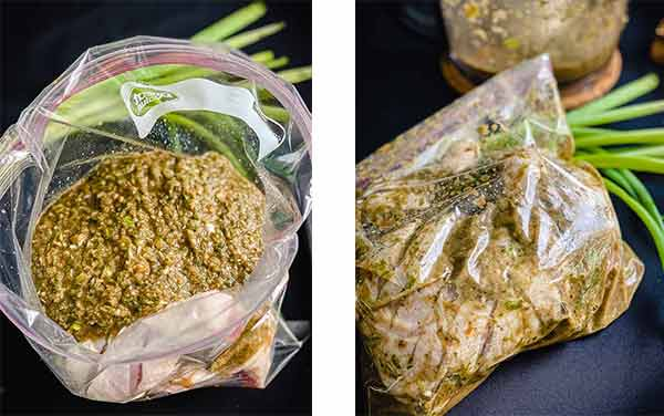 marinade poured over chicken in sealable bag on the left, and massaged into the pieces on the right.