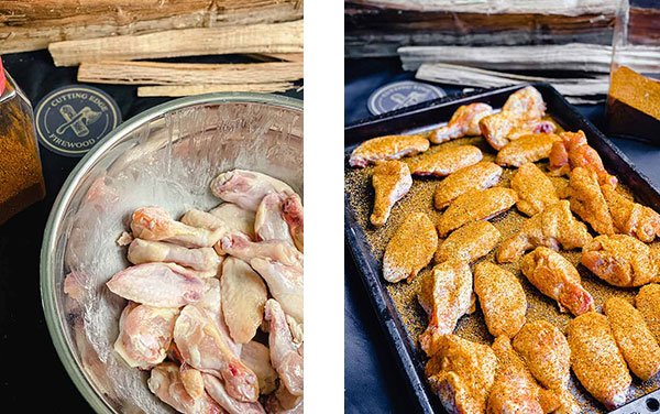 wings tossed with olive oil (left image) and seasoned evenly with a dry rub (right image)
