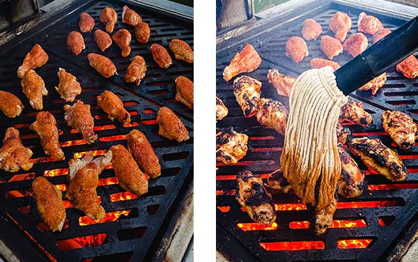 wings on the grill (left image) and a mop drizzling sauce over charred wings